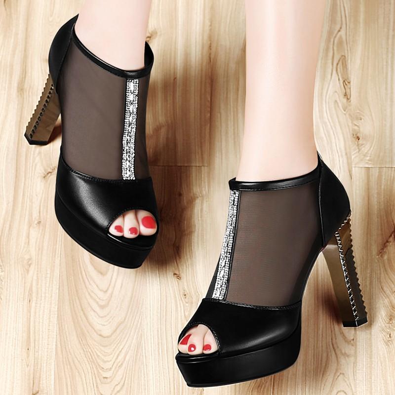 ซื้อ รองเท้าผู้หญิง2016ฤดูใบไม้ผลิ/ฤดูร้อนแฟชั่นผู้หญิงปั๊มแพลตฟอร์มP Eep Toeผู้หญิงรองเท้าส้นสูงตาข่ายอากาศรองเท้าผู้หญิง1023-46
