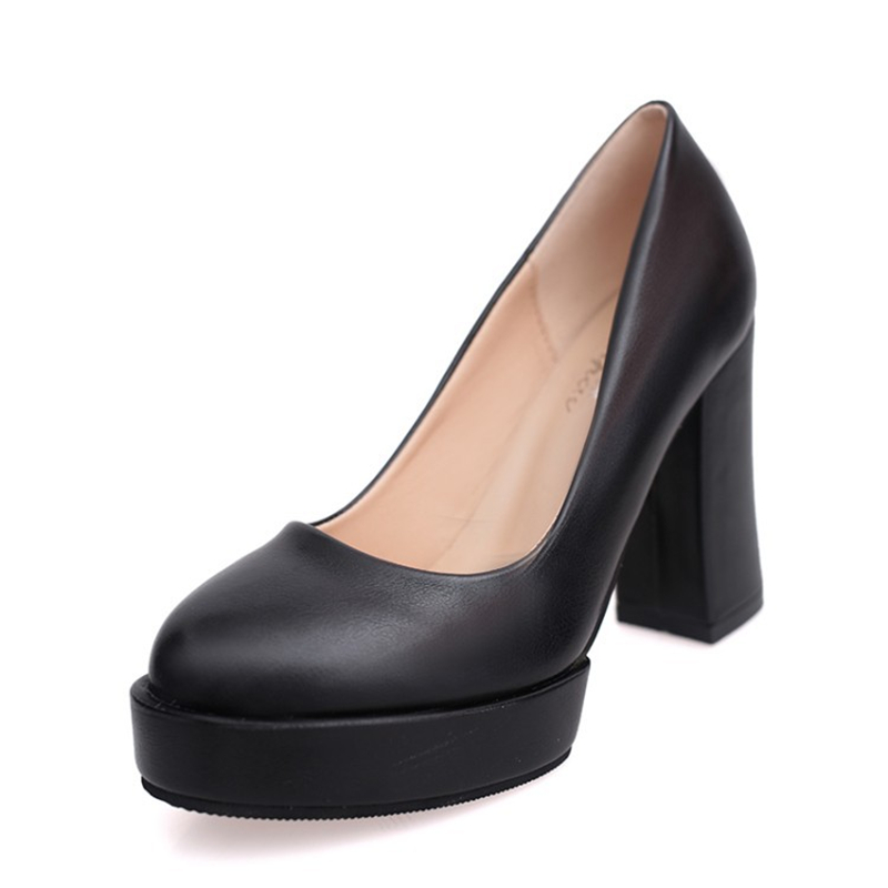 2016 New Worked High Heels Women Pumps Thick Heels Soft leather Stiletto Metal Heel Sexy Women Party Wedding Shoes Woman Soild(China (Mainland))