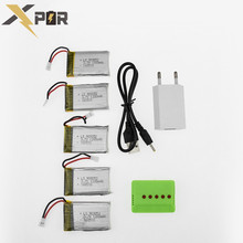 For Syma 5pcs Batteries 3.7v 1200Mah Lipo Battery With 5 in 1 USB Charger Box Plug T Set X5SW X5SC M18 H5P Drone RC Quadcopter