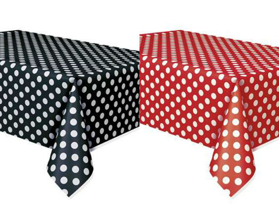 Red polka dot table cover promotion shop for promotional for Black polka dot tablecloth