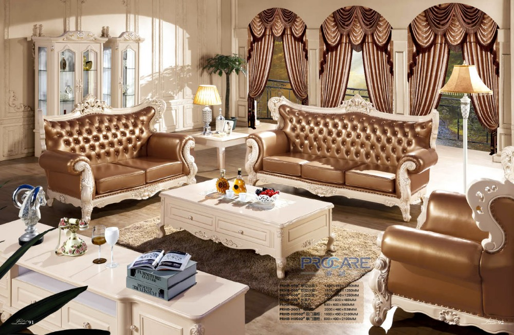 Luxury modern italian style leather sofa set for living room furniture prf609 in living room Italienische sofa