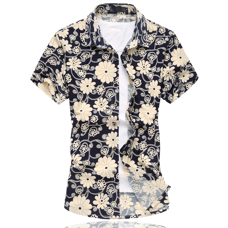 2016 New Fashion Mens Flower Shirt High Quality Personalized Print Short Sleeve Shirt Men Casual Summer Mens Floral Shirt 6XL(China (Mainland))
