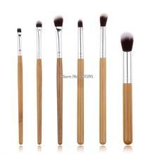 Professional 6 Pcs Bamboo Handle Eye Brushes Makeup Flat Brushes Cosmetics Professional Makeup Brush Set Hairbrush(China (Mainland))