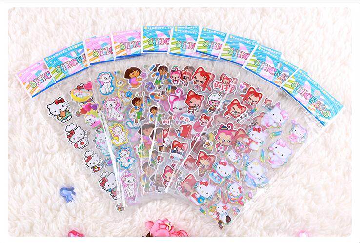 2015 15 Styles 10pcs/Lot DIY Scrapbooking Children Cartoon 3D Stickers Birthday Kawaii Foam Bubble Crafts Hot Sale(China (Mainland))