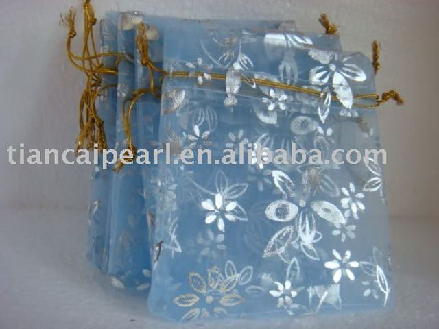 2016---free shipping  100 pcs  wholesale blue    color     Organza Jewelry Wedding Gift Bag
