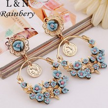 Rainbery Earrings For Women Brincos Romantic Boho Chic Carved Turkish Coins Drop& Polymer Flower Brazil Chandelier Earring(China (Mainland))