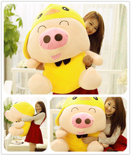 Animal McDull doll huge pig cuddly toy pig baby pigs plushed toys valentine's day gift about 95cm yellow(China (Mainland))