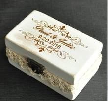 Caixa gravada feita sob encomenda do suporte do anel de casamento da caixa de anel, caixa personalizada do portador do anel de casamento(China)