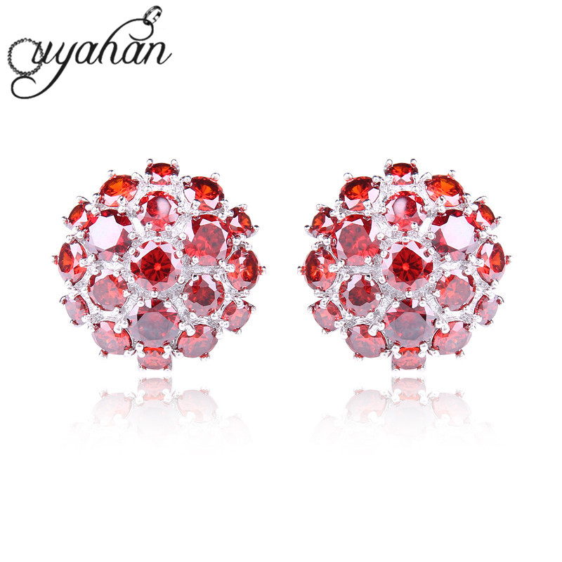 New Stylish Flower Stud Earrings Round Austrian Crystals Rhinestone Jewelry Hollow Bling Pomegranate Earrings For Gift A88957(China (Mainland))