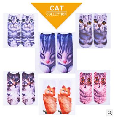 Harajuku мода стиль животные мэн домашняя кошка 3D печать носки