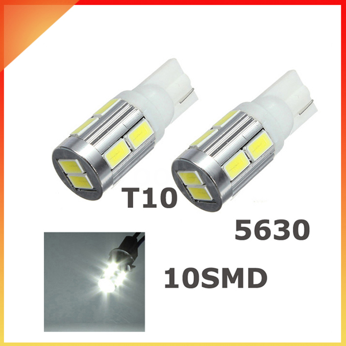 10X T10 w5w 5630 10 smd led 194 168 Wedge Light Bulb Turn Signal Light Bulb warm white White Blue Red Green Pink Yellow #LB43(China (Mainland))