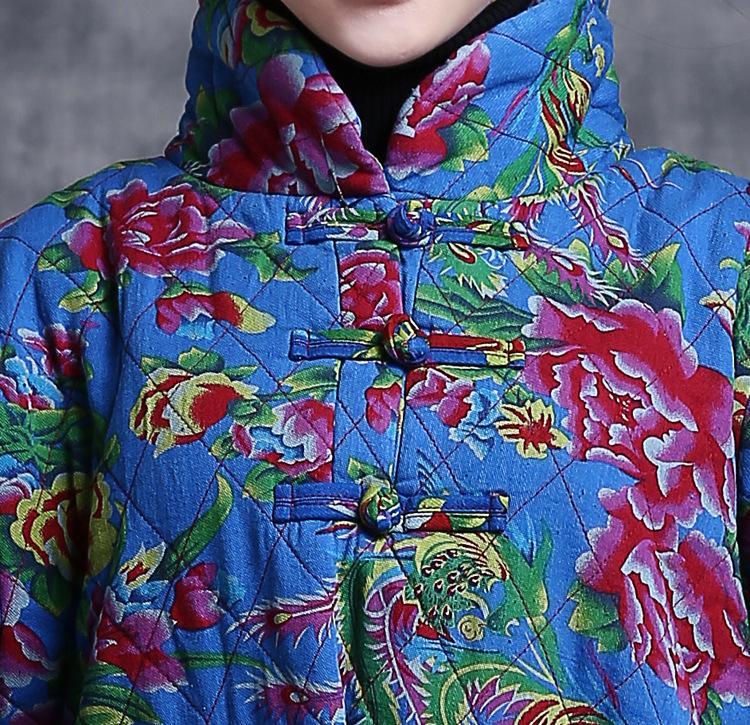 Скидки на (Бюст 108 см) 108 зима новый печать кнопки пластины, чтобы сделать старый стоячим воротником пуловер длинный хлопок куртка большой ярдов