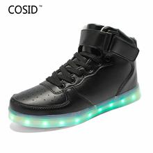Fashion 7 Colors Men LED Shoes New 2016 High Top Growing Shoes For Man Luminous Shoes White Black Light Up Shoes BRM-581