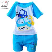 100% Del Algodón Del Bebé Niños Niñas Ropa de Los Niños Camisa + pantalones de Los Cabritos de la Historieta Ropa Trajes Casuales 5 Diseño 2015 verano