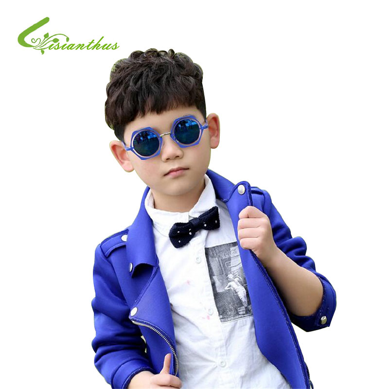 New Fashion 2016 Hexagonal Diamond Kids Sunglasses Children Colorful Frame Protection Cartoon Cute kids Glasses Drop Shipping(China (Mainland))