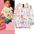 2016 Autumn Girls T shirt Cotton Girls Tops Cartoon Bird Print Long Sleeve Children T shirts