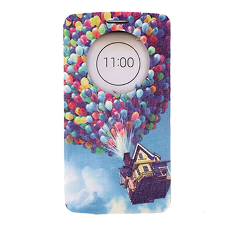 New arrival Perfectly Gift Balloon Fly House Circle Leather Stand Flip Case Cover For LG G3 Blue top quality cheap(China (Mainland))