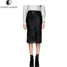 Summer Style Faux PU Leather Skirt Tassel Skirts Womens High Waist New Fashion Bodycon Skirt Black Midi Pencil Skirt Faldas