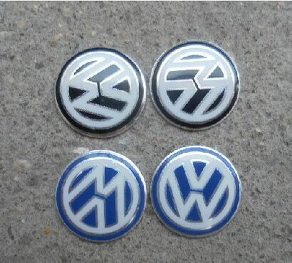 Car Styling 14mm VW Car logo auto Key Fob Emblem Badge Radio button Sticker for Golf Sagitar Scirocco Tiguan Black Blue(China (Mainland))