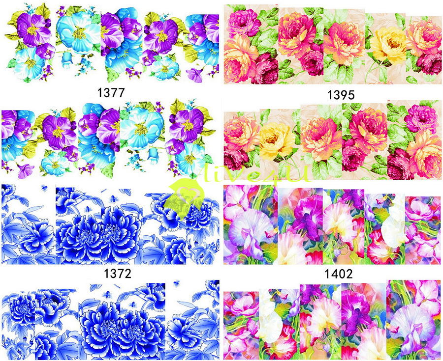 New Hot Designed Flowers Water Transfers Nail Stickers Decals,20sheets Nail Tips Wraps Beauty Decorations free shipping 4UNL214(China (Mainland))