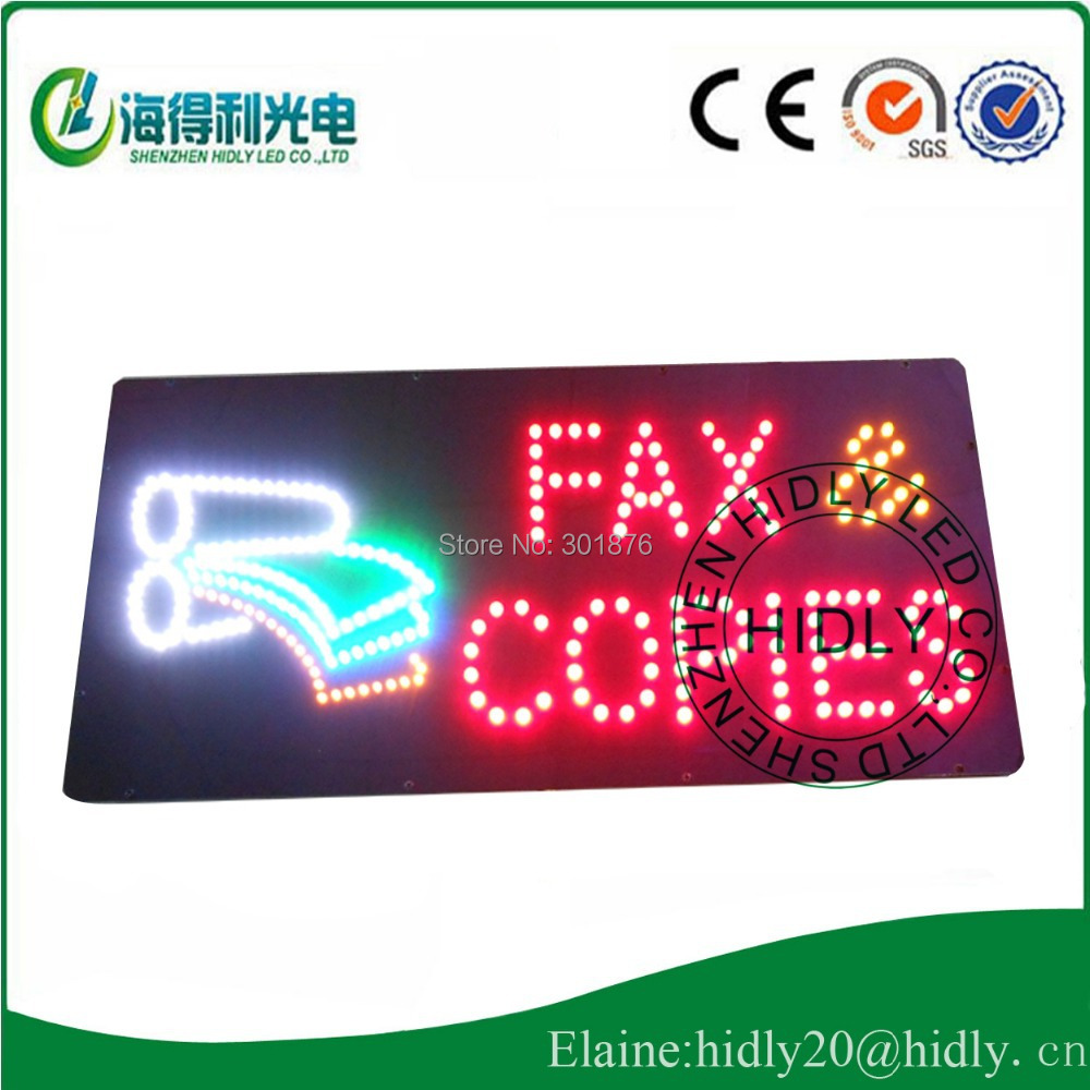 Wholesale 9*19inch FAX COPIES advertising open sign /DC12V electronic panel /business time indoor usage led open sign(China (Mainland))