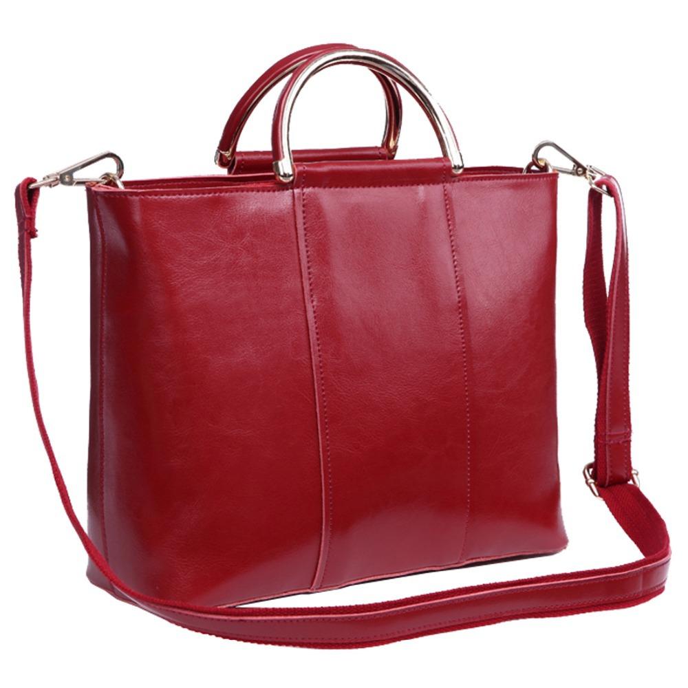 2015 Spring Vintage Women's Genuine Leather Purse Luggage Shoulder Bag Handbag Big Satchel Tote Crossbody Cowskin