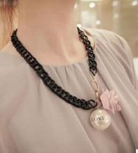2015 new fashion big pink flowers love letter big black pearl necklace chain clavicle chain short paragraph cute free shipping(China (Mainland))