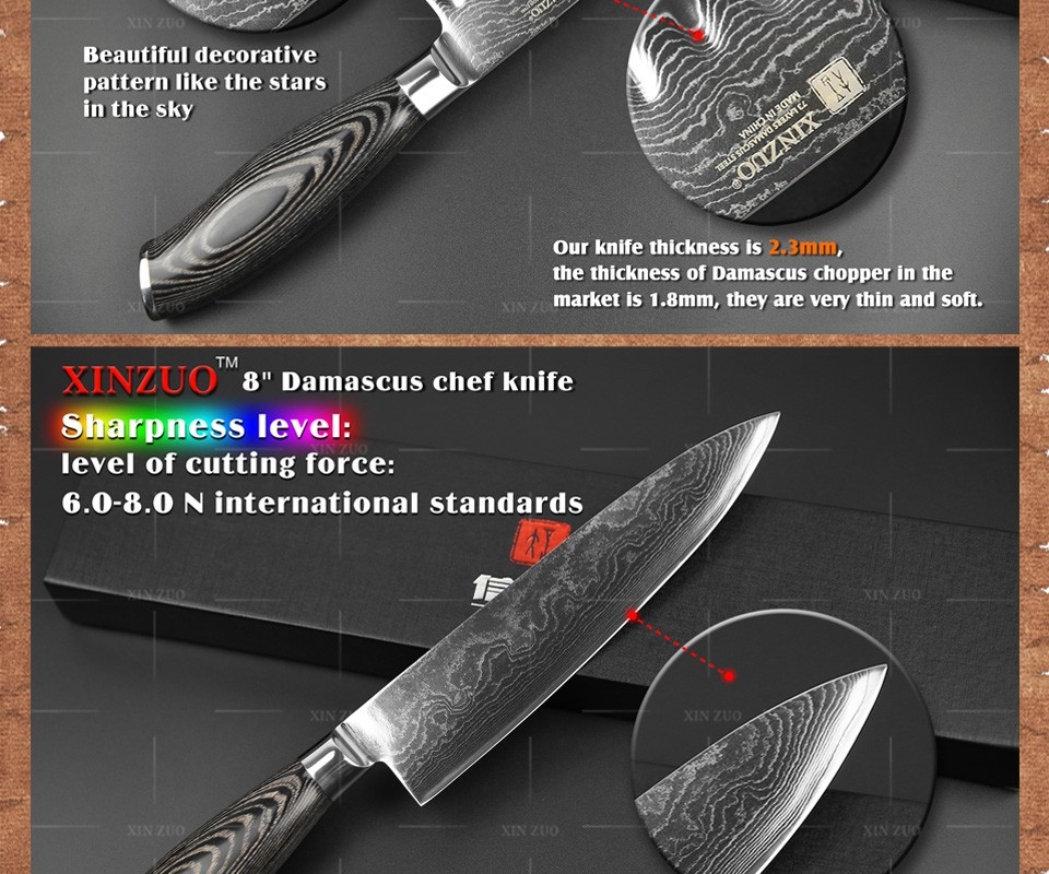 Buy XINZUO 3 pcs kitchen knives set 73 layers Japanese Damascus kitchen knife set VG10 chef utility knives wood handle free shipping cheap