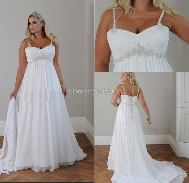 Empire waist chiffon plus size wedding dresses for Chiffon plus size wedding dresses