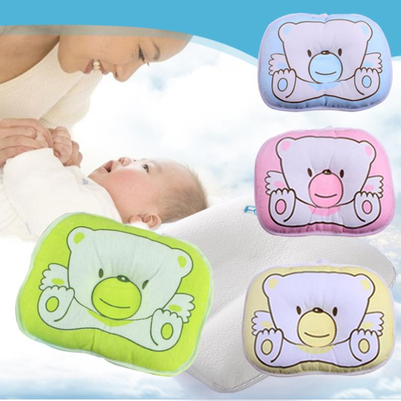 1 pcs Newborn Infant Neck Support bedding Print Bear Shape Baby Shaping Pillow 4 Colors Free Shipping(China (Mainland))