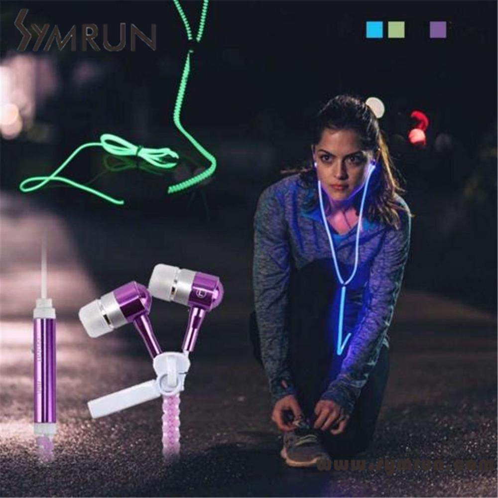 Symrun 2016 Lover Couple Luminous Mobile Earphone Headset Zipper In-Ear 3.5Mm Sports Glow Led Earphones(China (Mainland))