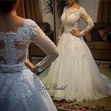 Robe de mariage Elegant Long Wedding Dress 2017 Boat Neck Long Sleeves Chapel Train A-Line Appliques Pearls Tulle Bridal Gowns(China (Mainland))