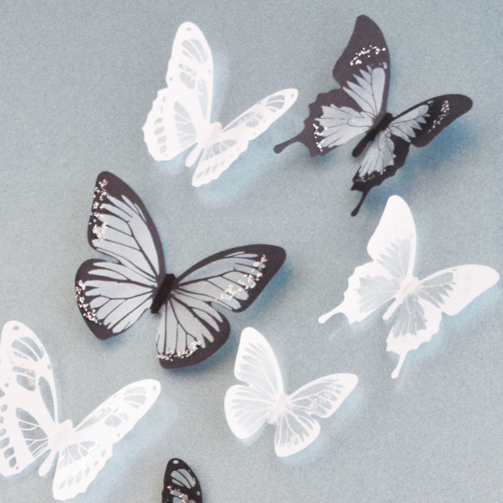 18Pcs Creative Butterflies 3D Wall Stickers PVC Removable Decors Art DIY Decorations Christmas Wedding decorations(China (Mainland))