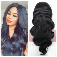 Fast shipping natural black #1 body wave synthetic lace front wig heat resistant for black women synthetic wigs with baby hair