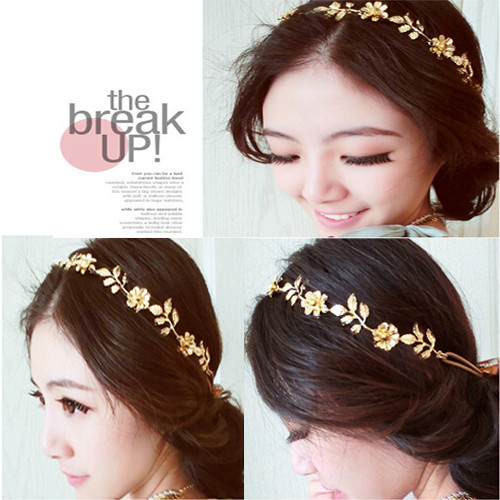 New Fashion Jewelry Vintage Gold Elastic Romantic Olive Branch Leaves Flower Head Bands Hair Accessories For Women Girl(China (Mainland))