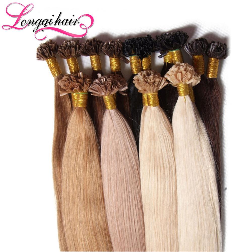 20 inch Nail Tip U Tip Keratin Hair Extension 50g Remy Indian Human Hair Fusion Extensions100 Strands Of Hair(China (Mainland))