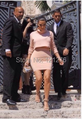 2015 Fashion Women Kim Kardashian Celebrity Cashmere Long Sleeve Warm 2 Piece Autumn Winter Dress Vestido De Festa 5 Color(China (Mainland))