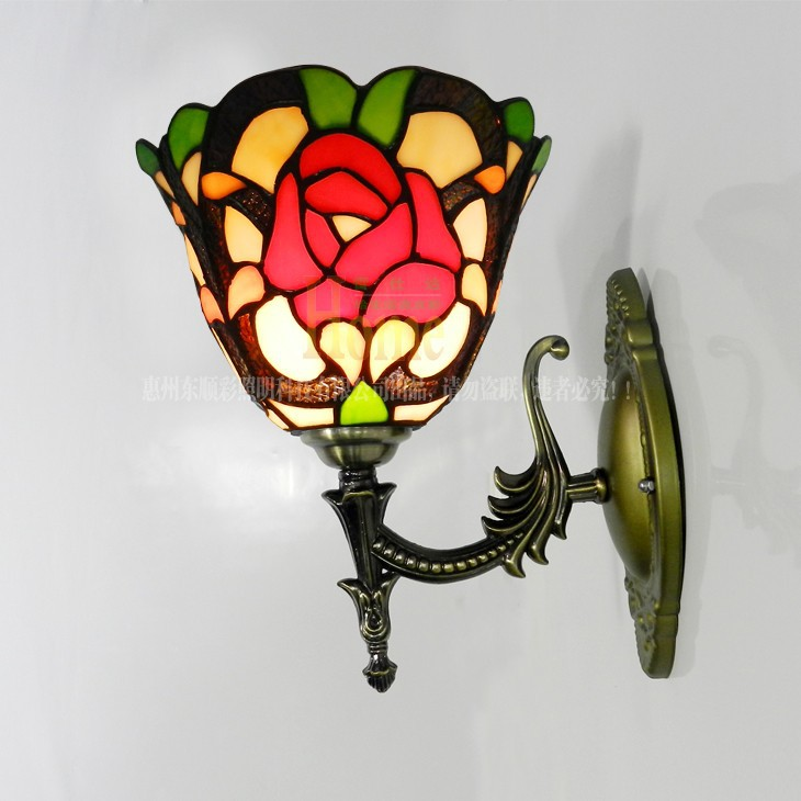 European-style garden roses small living room bedroom wall lying marriage room bar Tiffany glass front wall mirror ideas(China (Mainland))