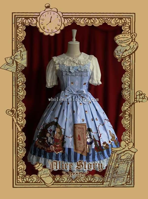 Infanta ALICE STORY Printing Sweet Lolita Dress JSKÎäåæäà è àêñåññóàðû<br><br>