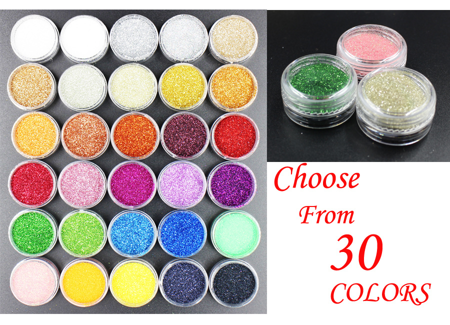 1pcs X Nails Glitters Acrylic Powder Dust For Nail Art Tips for Nails Accessories ! 30 colors Choices!(China (Mainland))