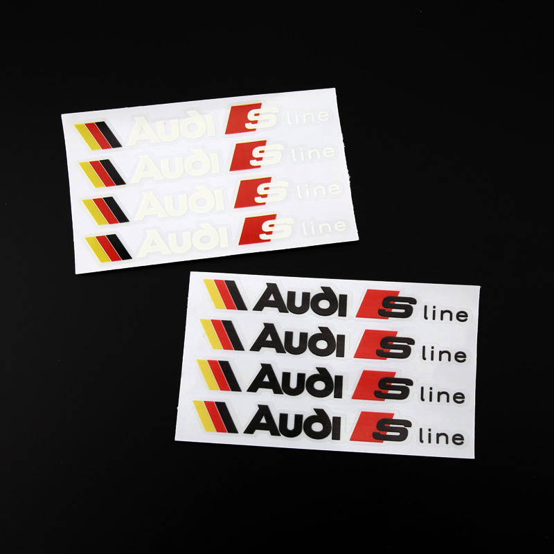 4pcs ETIE Car Styling Vinyl Wrap Adhesive Audi Sport Stickers Decals Audi S Line Logo Sticker Design For Motorcycle Accessories(China (Mainland))