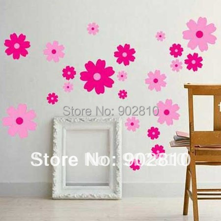 Listed in Stock Dual Color Pink Flowers Decorative peel and stick art wall sticker decals for Children Girl's Bedroom FA22LD879(China (Mainland))