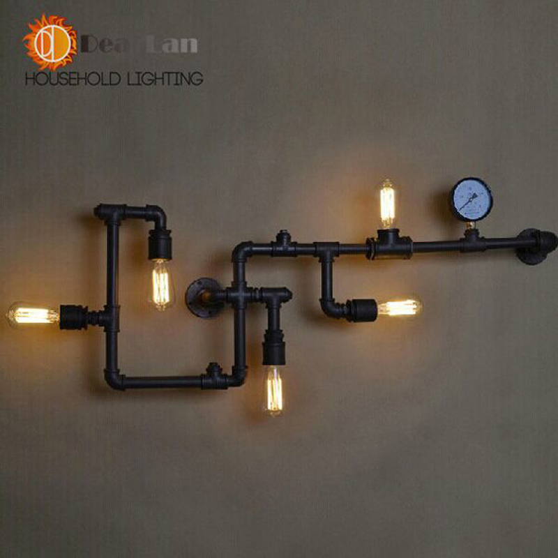 Wholesale Price Water Pipe Wall Lamp Vintage Lights Loft Iron Wall Lamps Perfectly Matching ...