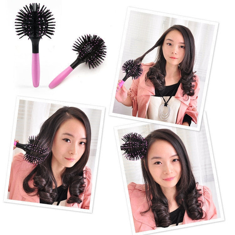 3D Hair Brush wholesale korean bomb curl 360 degree Ball Styling Blow Drying Detangling Heat Resistant Hair Comb(China (Mainland))