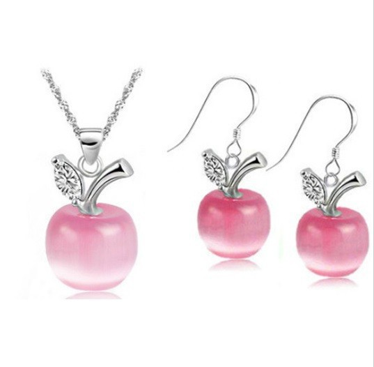 49% Pink Wedding Accessories 925 Silver Earrings Women White Crystal Bridal Jewelry Sets Red Necklace Blue Bijoux Set Ulove