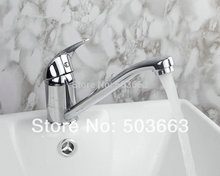 Buy Long Spray Spout Swivel 360 Chrome Brass Kitchen Spout Vessel Sink Single Handle Deck Mount Mixer Tap MF-417 Faucet for $35.14 in AliExpress store