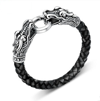 Wholesale men bracelet leather Tibetan silver titanium fashion male vintage accessories parataxis dragon bracelet men jewelry(China (Mainland))