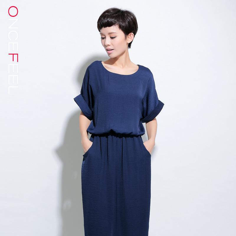 The 2015 summer Europe and the United States women's clothing Belt emulation silk dress shirt collar chiffon dress(China (Mainland))