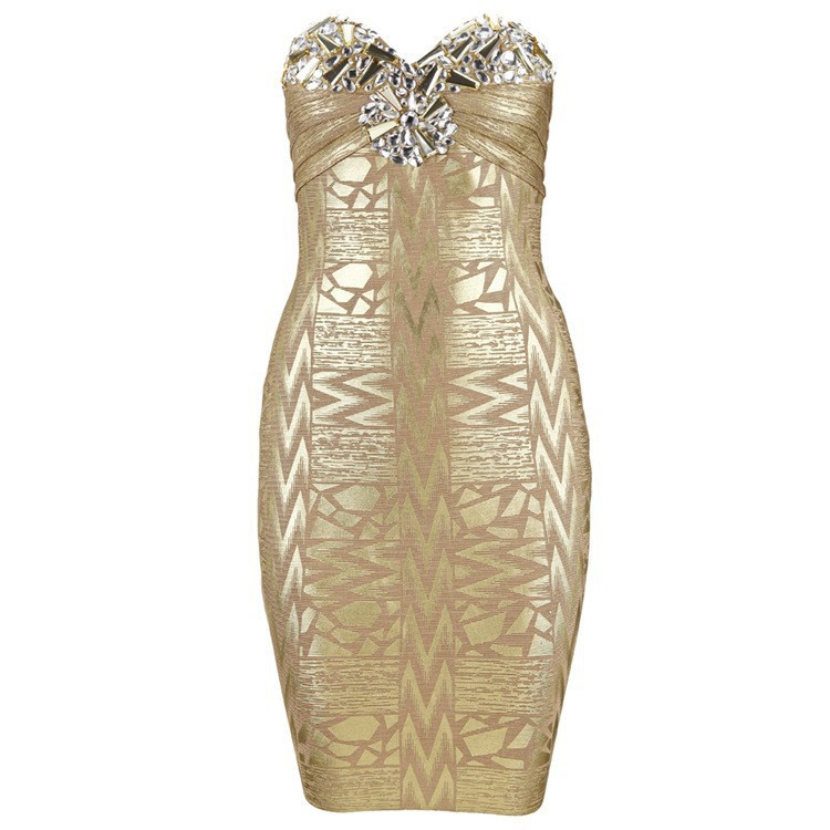 Claire 2016 Hot Stunning Gold Silver Strapless Jersey Sheath None Dresses Night Club Printed Bandage Dress Plus Size CS-H469(China (Mainland))