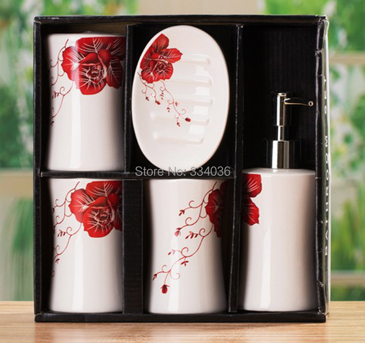 red rose bathroom accessories best bathroom - White Bathroom Accessories Ceramic